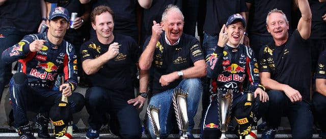 Red Bull celebrate their second successive constructors' championship in Korea: (Left to Right): Mark Webber, Christian Horner, Dr. Helmut Marko, Sebastian Vettel and Team Manager Jonathan Wheatley - Photo Credit: Clive Mason/Getty Images
