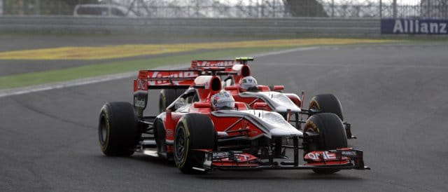 Timo Glock leads Virgin Racing team-mate Jerome D'Ambrosio during the Korean Grand Prix - Photo Credit: Marussia Virgin Racing