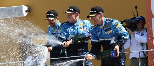 Muller, Huff and Menu celebrate their 1-2-3 finish in the second race at Valencia - Photo Credit: fiawtcc.com