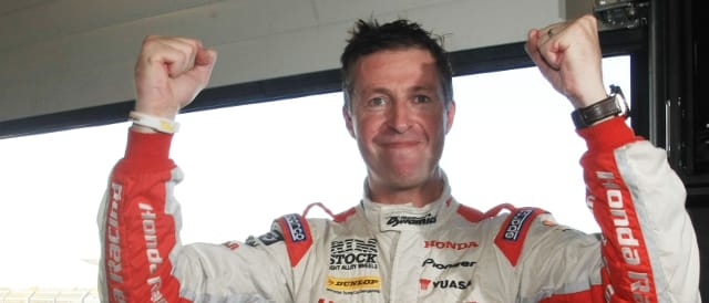 Matt Neal celebrates pole position (Photo Credit: btcc.net)