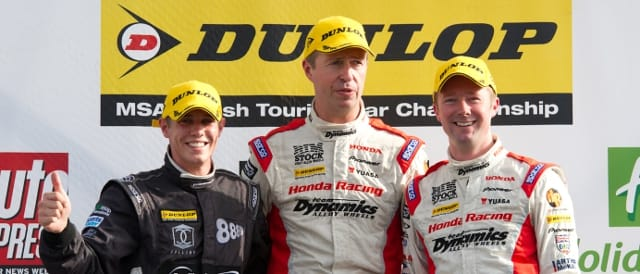 BTCC Silverstone race 1 podium (Photo Credit: Jon Hobley)