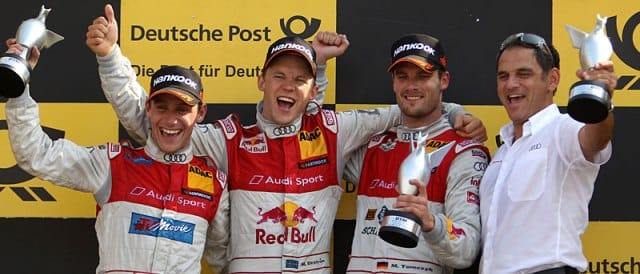 Filipe Albuquerque, Mattias Ekstrom, Martin Tomczyk and Hans-Jurgen Abt on the podium - Photo Credit: DTM.com