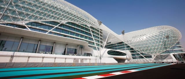 The circuit in Abu Dhabi is dominated by the futuristic Yas Hotel - Photo Credit: Mark Thompson/Getty Images