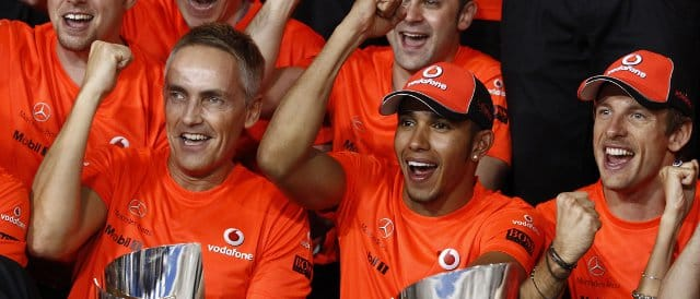 After tasting victory in Abu Dhabi, McLaren team principal Martin Whitmarsh (left) will want either Lewis Hamilton (centre) or Jenson Button (right) to take the win in Brazil on Sunday - Photo Credit: Vodafone McLaren Mercedes