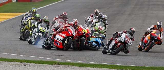 The first corner crash at Valencia - Photo Credit: Ducati