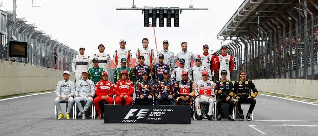 The end of season photo taken last weekend in Brazil. So far, only 13 of these 24 drivers appear on the list for next season - Photo Credit: Paul Gilham/Getty Images