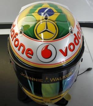 Lewis Hamilton is wearing a helmet with a special design this weekend - Photo Credit: Vodafone McLaren Mercedes