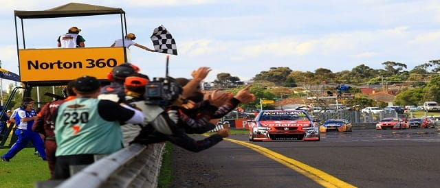 Jamie Whincup takes victory in race two at Sandown Photo Credit: TeamVodafone