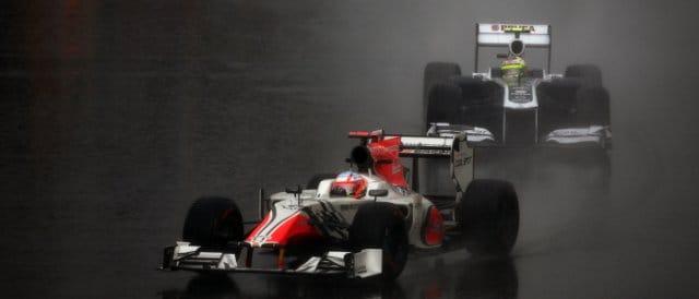HRT's Narain Karthikeyan leads Williams driver Pastor Maldonado at the Canadian Grand Prix earlier this season - Photo Credit: HRT