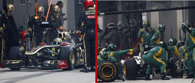 Renault (left) and Team Lotus can now limit their battles to the pit lane rather than the court room - Photo Credit: (Both) Andrew Ferraro/LAT Photographic