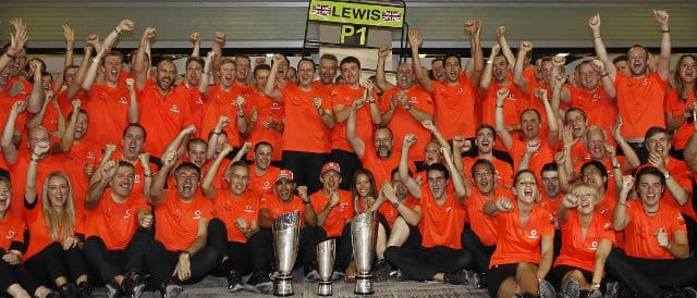 McLaren celebrate their result in Abu Dhabi - Photo Credit: Vodafone McLaren Mercedes