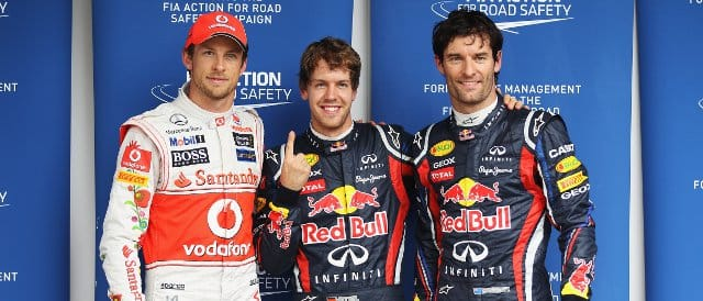 The top three from today's qualifying session in Brazil: (left to right) Jenson Button (3rd), Sebastian Vettel (pole), Mark Webber (2nd) - Photo Credit: Mark Thompson/Getty Images