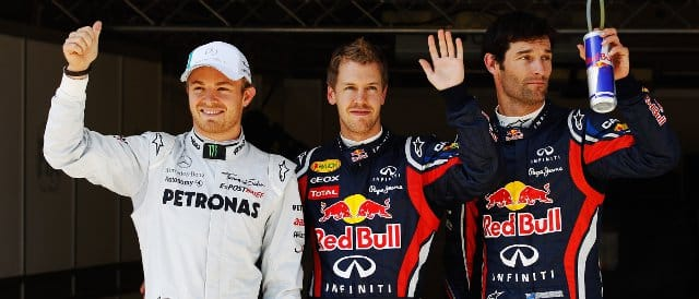 The top three qualifiers in Istanbul: (left to right): Nico Rosberg (3rd); Sebastian Vettel (pole); Mark Webber (2nd) - Photo Credit: Mark Thompson/Getty Images