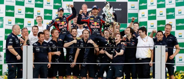 The Red Bull team celebrate their one-two finish in Brazil on the Interlagos podium - Photo Credit: Paul Gilham/Getty Images