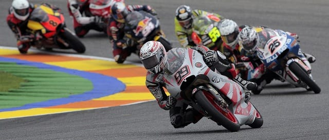 Danny Webb leading eventual winner Maverick Vinales - Photo Credit: Mahindra