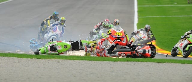The first lap accident at Valencia - Photo Credit: MotoGP.com