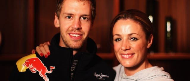 Natalie Pinkham, pictured here alongside Sebastian Vettel, will team-up with Ted Kravitz to be pit-lane reporter for Sky - Photo Credit: Mark Thompson/Getty Images