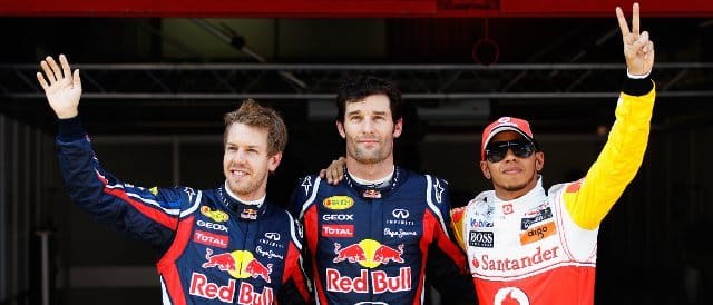 Mark Webber (centre) takes pole position in Spain with Sebastian Vettel (2nd) and Lewis Hamilton (3rd) - Photo Credit: Mark Thompson/Getty Images