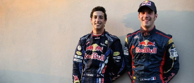 Daniel Ricciardo (left) and Jean-Eric Vernge, Toro Rosso's drivers for 2012, conveniently posed for this photo together at the Young Driver Test in Abu Dhabi last month - Photo Credit: Andrew Hone/Andrew Hone/Getty Images
