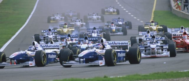 Last time Williams partnered with Renault, there were winning races on a regular basis - here Jacques Villeneuve and Heinz Harald Frentzen lead into the first corner of the 1997 European Grand Prix in Jerez - Photo Credit: LAT Photographic/Williams F1