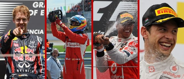 Always the same person winning? Four consecutive races at the mid-point of 2011 had four different victors  - Photo Credits: Paul Gilham/Getty Images; Ferrari; Vodafone McLaren Mercedes