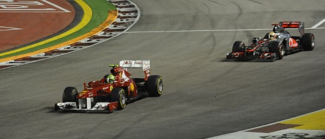 Hamilton comes up to the back of Massa in Singapore - everybody watching in Brazil hide behind their sofas - Photo Credit: Ferrari