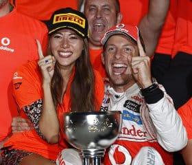 Button celebrates victory in Japan with girlfriend Jessica Michibata - Photo Credit: Vodafone McLaren Mercedes