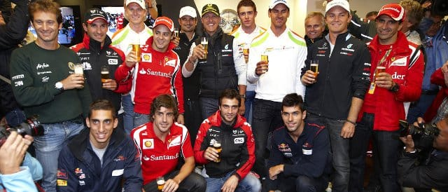 The drivers get together in Spa-Francorchamps to celebrate the 20th anniversary of Michael Schumacher arriving in Formula 1 - Photo Credit: Mercedes GP