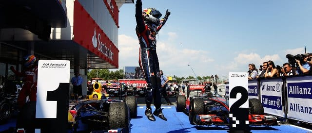 Vettel celebrates victory in Spain - Photo Credit: Paul Gilham/Getty Images