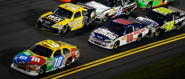 Kyle Busch leads during the 2011 Shootout (Photo Credit: John Harrelson/Getty Images for NASCAR)
