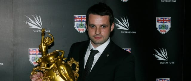 Tom Kimber-Smith with the Woolf Barnato Trophy