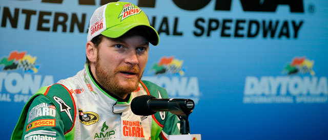 Earnhardt Jr. at the Daytona press conference following testing - Credit: Jared C. Tilton/Getty Images for NASCAR