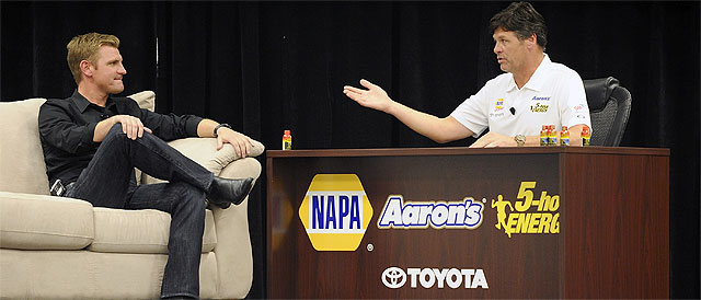 Bowyer and Waltrip chat - Credit: Jared C. Tilton/Getty Images for NASCAR