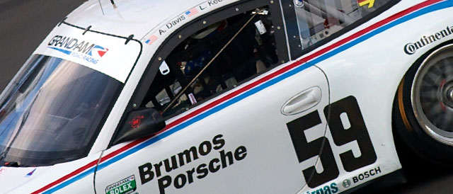 The #59 Brumos Porsche is back in the lead of the GT Class as the battle hots up - Credit: Grand-AM