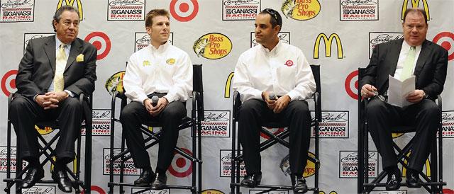Felix Sabates, Jamie McMurray, Juan Pablo Montoya, and Chip Ganassi - Credit: Credit: Jared C. Tilton/Getty Images for NASCAR