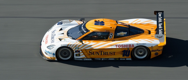 Suntrust's Corvette DP on Daytona's high banks (Photo Credit: James Boone)
