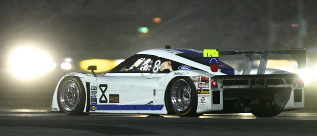 The no.8 Starworks entry races through the Daytona night (Photo Credit: Grand-Am)
