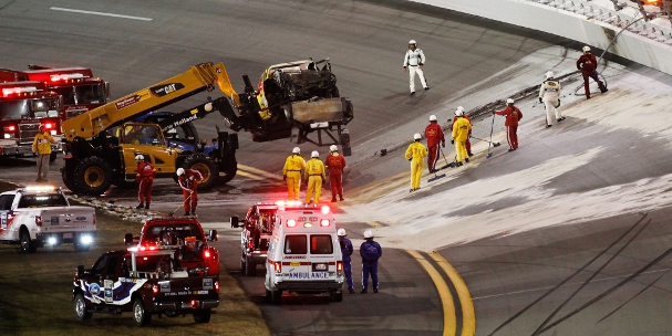 The aftermath of the fire during the 2012 Daytona 500 (Photo Credit: Jonathan Ferrey/Getty Images for NASCAR)