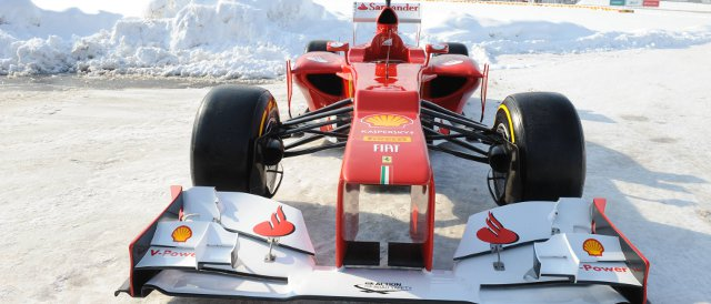 The new Ferrari F2012 in the snow of Maranello - Photo Credit: Ferrari