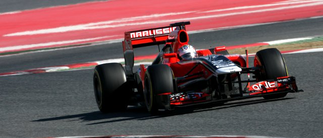 Timo Glock (pictured) and Charles Pic took last season's car around Barcelona last week, but will have to wait until they get to Melbourne to try the 2012 model - Photo Credit: Marussia F1 Team
