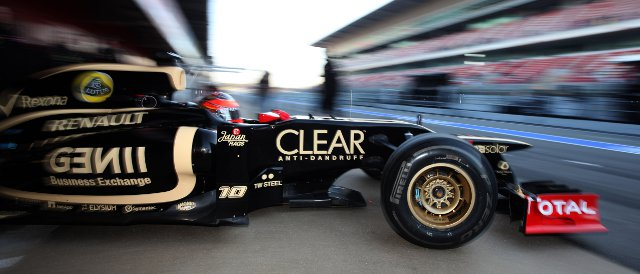 Romain Grosjean emerges from the pits this morning in Barcelona - Photo Credit: Glenn Dunbar/LAT Photographic