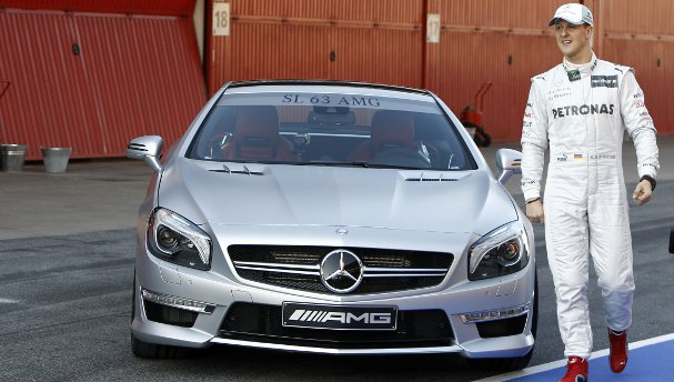 The new Mercedes-Benz SL63 AMG (and Michael Schumacher) - Photo Credit: Mercedes AMG