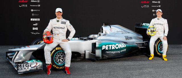Michael Schumacher (left) and Nico Rosberg introduce the new Mercedes MGP W03 - Photo Credit: Mercedes AMG