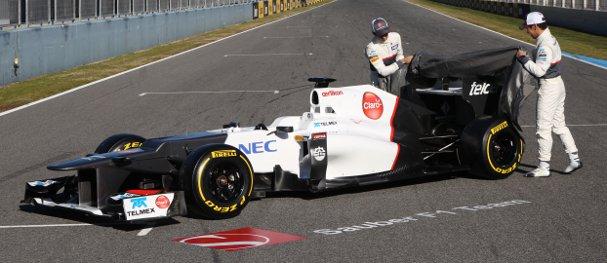 Sergio Perez and Kamui Kobayashi unveil the Sauber C31 at Jerez today - Photo Credit: Sauber Motorsport AG