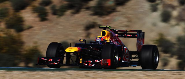 Mark Webber had the fastest of the 2012 cars in Jerez today  - Photo Credit: Clive Mason/Getty Images