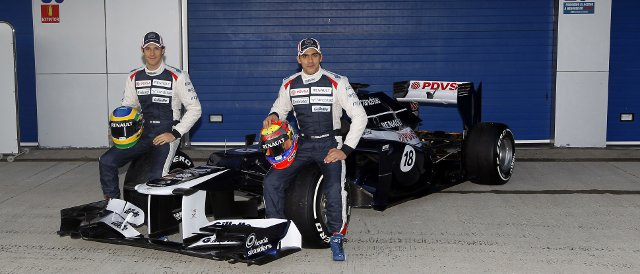 Bruno Senna (left) and Pastor Maldonado helped to launch the new Williams FW34 this morning before testing got underway - Photo Credit: Andrew Ferraro/Williams F1