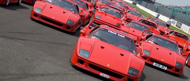 40 examples of the F40 lined up at Silverstone for the 2007 event (Photo Credit: Silverstone Classic)