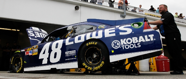 Jimmie Johnson's Lowe's Chevrolet in the Daytona garages (Photo Credit: Tom Pennington/Getty Images for NASCAR)