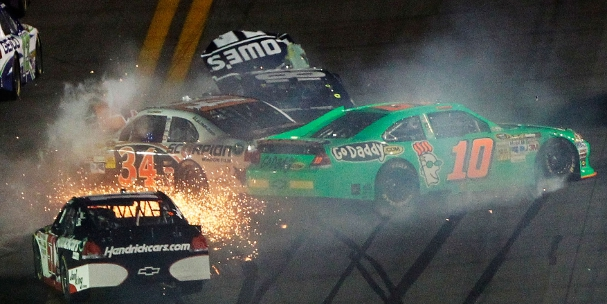 Jimmie Johnson, Danica Patrick and David Ragan collide on lap two of the 2012 Daytona 500 (Photo Credit: Tom Pennington/Getty Images for NASCAR)