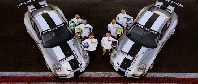 The six finalists (from left to right): Farnbacher, Bachler, Trebing, Pineiro, Blomqvist and Christensen. Photo Credit: Porsche AG